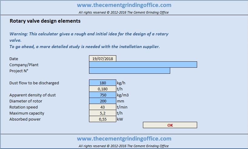 Rotary Valve Sizing Calculator